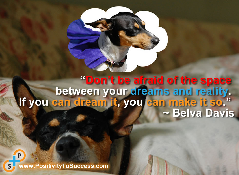 """""""Don't be afraid of the space between your dreams and reality. If you can dream it, you can make it so."""" ~ Belva Davis"""