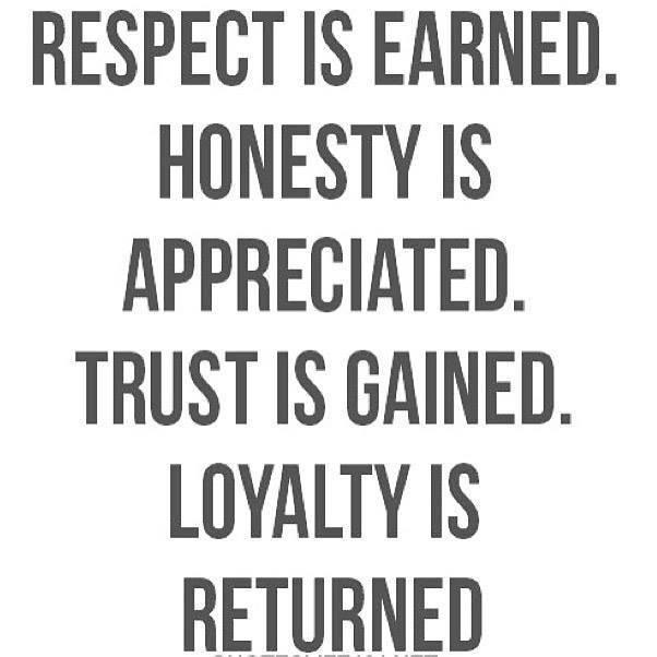 Respect Is Earned. Honesty Is Appreciated. Loyalty Is Returned